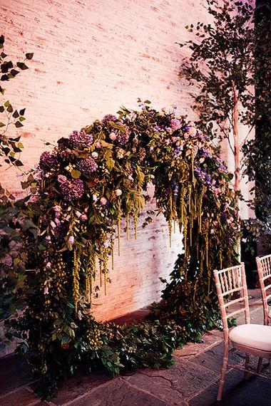 Moon gate ceremony backdrop at Dorfold Hall wedding