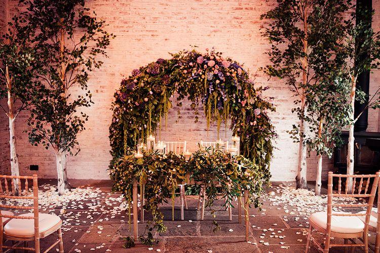 Ceremony flowers at Dorfold Hall wedding