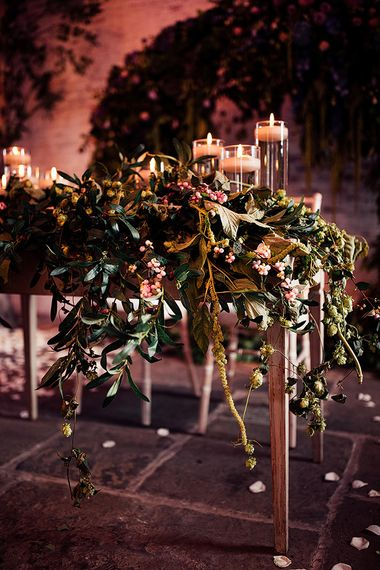Red Floral Architecture wedding flowers