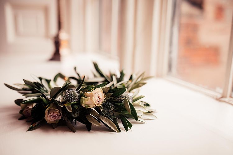 Flower crown with roses and foliage