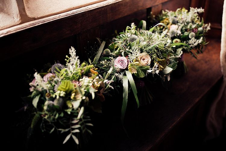 Wedding bouquets all lined up