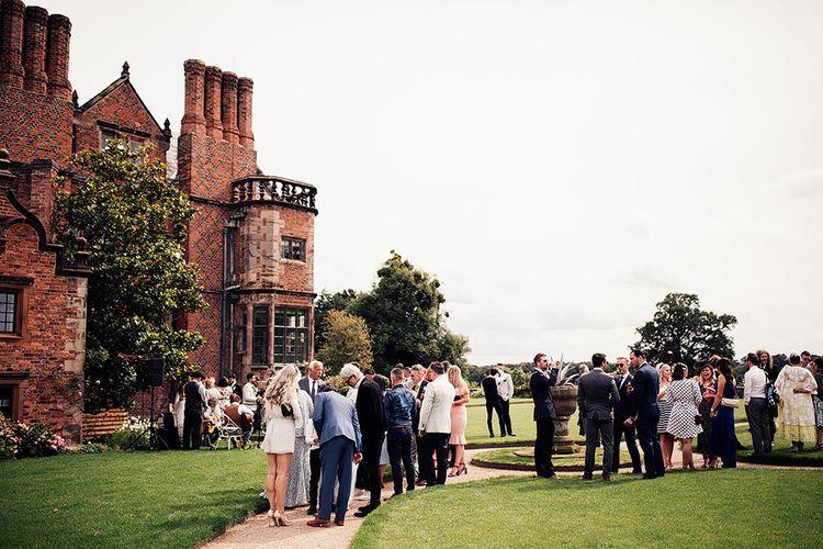 Outdoor reception at Dorfold Hall wedding venue