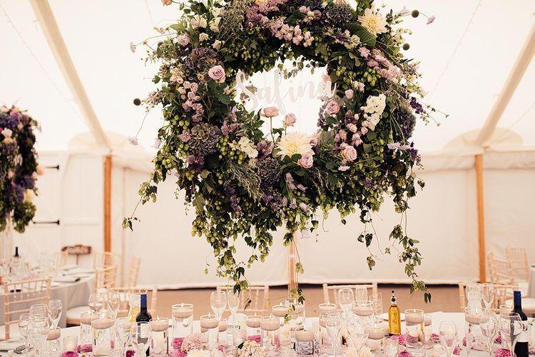 Hoop floral arrangements for table centrepieces