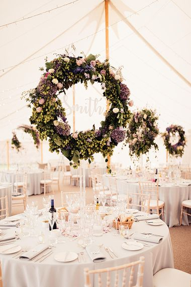 Tall hoop table centrepiece wedding flowers