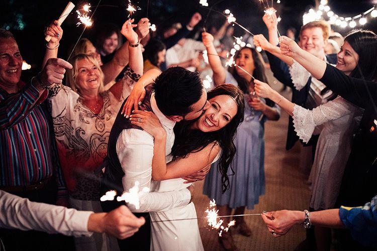 Sparkler moment at Dorfold Hall wedding venue