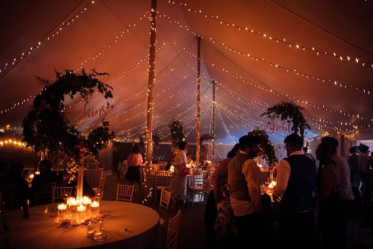 Fairy lights covering the marquee reception at Dorfold Hall