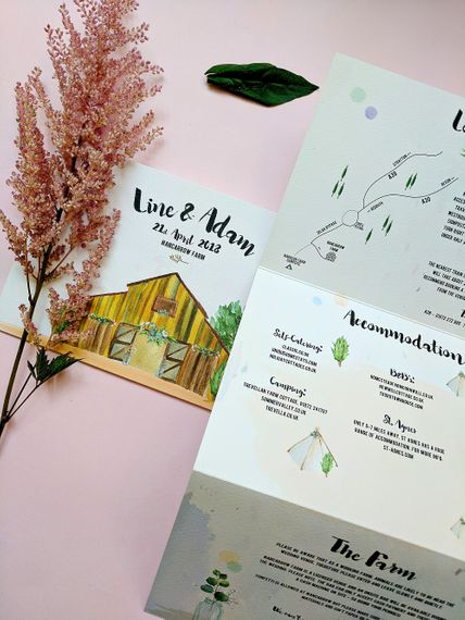 Illustrated Wedding Venue Stationery // Nancarrow Farm Cornwall Wedding With Images From Dale Weeks & Bride In Maggie Sottero With Wild Flower Bouquet & Hand Knitted Flower Girl Outfit