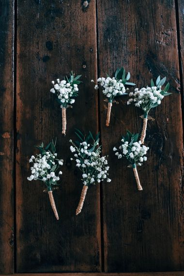 Gypsophila Buttonholes For Wedding // Nancarrow Farm Cornwall Wedding With Images From Dale Weeks & Bride In Maggie Sottero With Wild Flower Bouquet & Hand Knitted Flower Girl Outfit