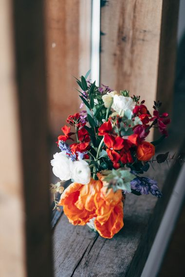 Wild Flowers At Wedding // Nancarrow Farm Cornwall Wedding With Images From Dale Weeks & Bride In Maggie Sottero With Wild Flower Bouquet & Hand Knitted Flower Girl Outfit