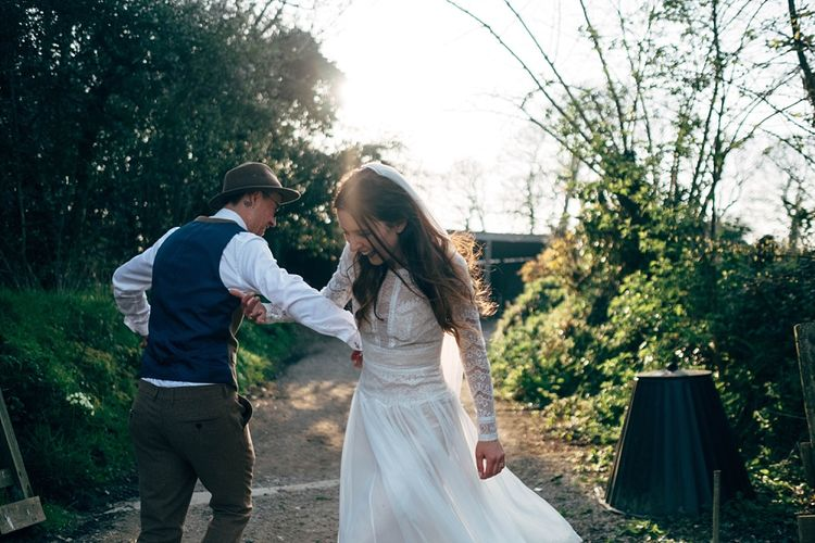 Nancarrow Farm Cornwall Wedding With Images From Dale Weeks & Bride In Maggie Sottero With Wild Flower Bouquet & Hand Knitted Flower Girl Outfit