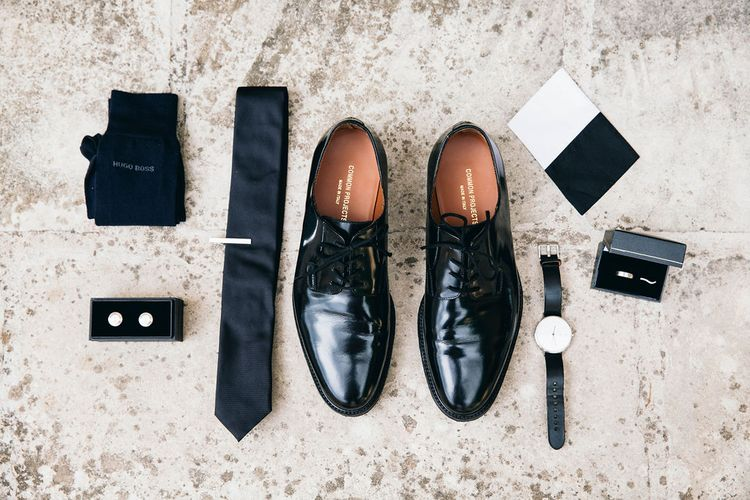 Wedding Morning Preparations | Black Patent Shoes by Common Projects from Mr Porter | Black Tie | Groom's Cufflinks | Wedding Bands | Puglian Countryside Wedding with Fairy Light Altar and Olive Grove Aperitivo | Figtree Wedding Photography