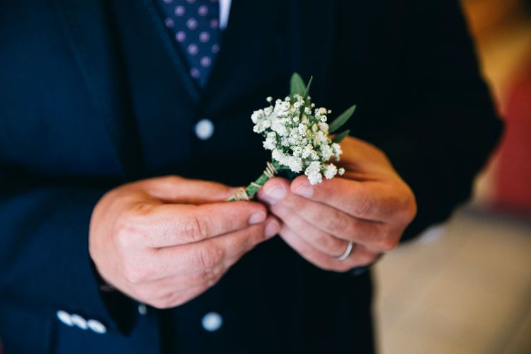 Gypsophila Buttonhole | Puglian Countryside Wedding with Fairy Light Altar and Olive Grove Aperitivo | Figtree Wedding Photography