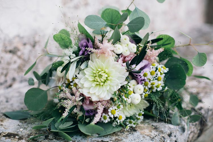 Bridal Bouquet of White, Soft Pink, Purple and Yellow Flowers with Greenery | Puglian Countryside Wedding with Fairy Light Altar and Olive Grove Aperitivo | Figtree Wedding Photography