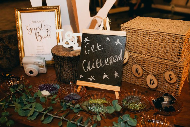 Glitter Station | Polaroid Guest Book | Cards Basket | Puglian Countryside Wedding with Fairy Light Altar and Olive Grove Aperitivo | Figtree Wedding Photography