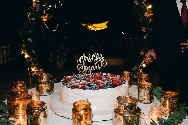 Traditional Puglian Wedding Cake with Cream, Pastry and Berries | Mr and Mrs Gold Cake Topper | Gold Lanterns | Puglian Countryside Wedding with Fairy Light Altar and Olive Grove Aperitivo | Figtree Wedding Photography