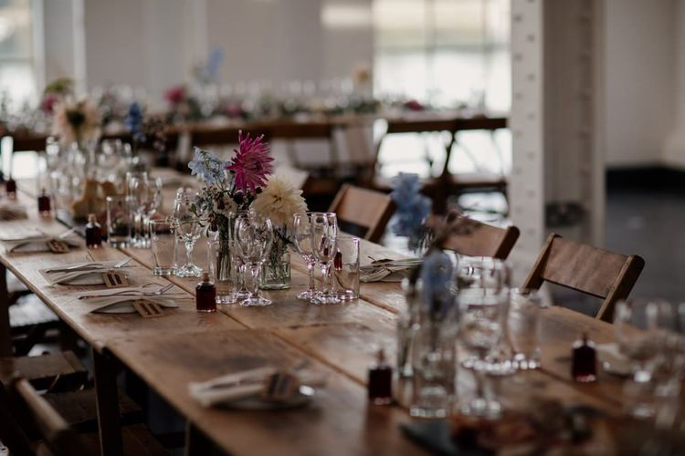 Rustic styling with floral decor at West Reservoir Centre reception in London