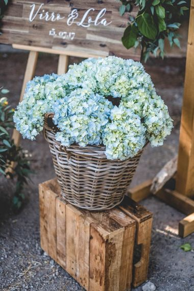Hydrangea Wedding Flowers // Bride In Straw Hat With Leanne Marshall Wedding Dress Destination Wedding In Mallorca With Images From F2 Studios And Film By Alberto & Yago