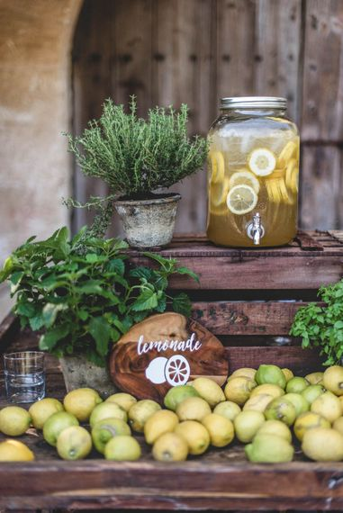 Lemonade Bar For Destination Wedding // Bride In Straw Hat With Leanne Marshall Wedding Dress Destination Wedding In Mallorca With Images From F2 Studios And Film By Alberto & Yago