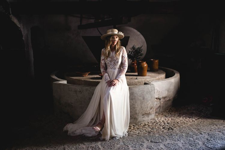 Bride In Straw Hat With Leanne Marshall Wedding Dress Destination Wedding In Mallorca With Images From F2 Studios And Film By Alberto & Yago