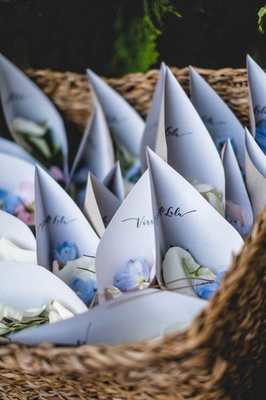 Confetti Cones For Wedding // Bride In Straw Hat With Leanne Marshall Wedding Dress Destination Wedding In Mallorca With Images From F2 Studios And Film By Alberto & Yago