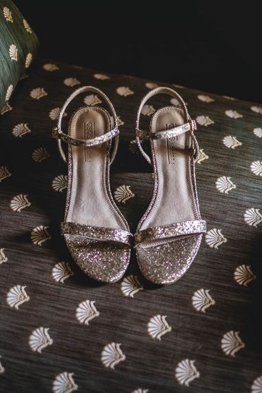 Sparkly Wedding Shoes // Bride In Straw Hat With Leanne Marshall Wedding Dress Destination Wedding In Mallorca With Images From F2 Studios And Film By Alberto & Yago