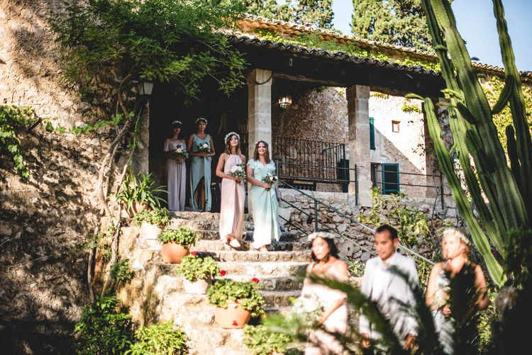 Bridesmaids In Pastels // Bride In Straw Hat With Leanne Marshall Wedding Dress Destination Wedding In Mallorca With Images From F2 Studios And Film By Alberto & Yago