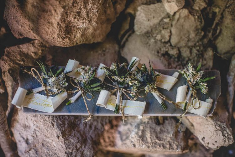 Rustic Buttonholes For Groom & Groomsmen // Bride In Straw Hat With Leanne Marshall Wedding Dress Destination Wedding In Mallorca With Images From F2 Studios And Film By Alberto & Yago