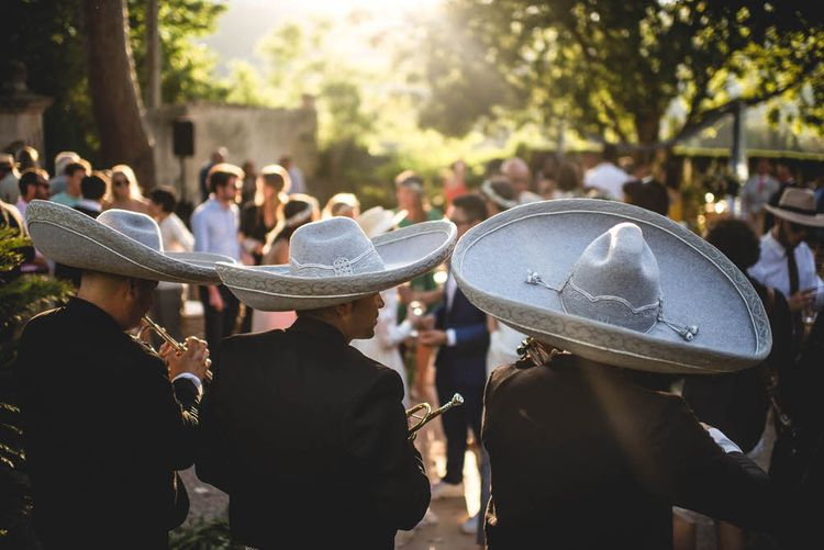 Mariachi Band For Wedding // Bride In Straw Hat With Leanne Marshall Wedding Dress Destination Wedding In Mallorca With Images From F2 Studios And Film By Alberto & Yago