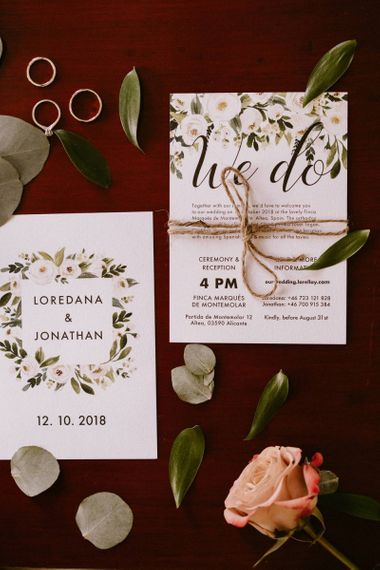 White and Green Floral Wedding Stationery Suite