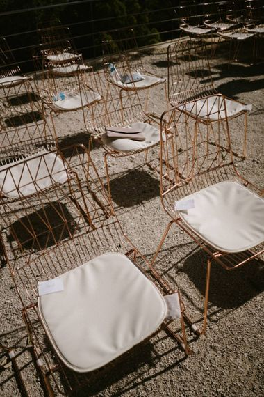 Copper Wire Ceremony Chairs with Seat Pads