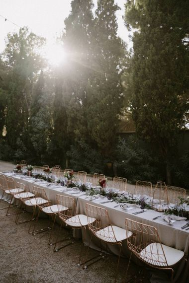Copper Wire Chairs on Long Wedding Breakfast Table