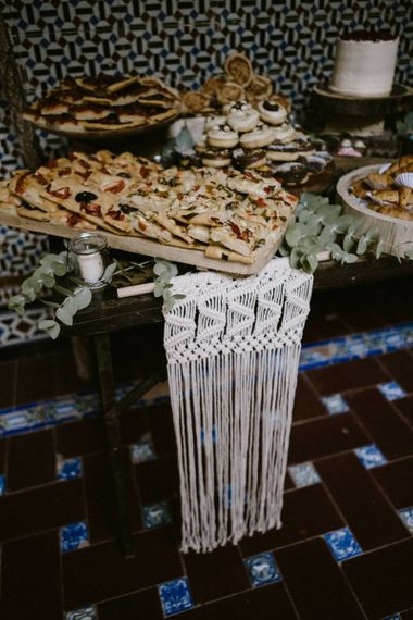 Macrame Wedding Decor on Food Table