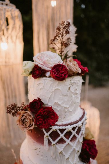 Red and White Flower Wedding Cake Decor