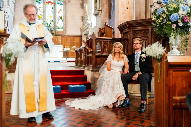 Church Wedding Ceremony with Bride in Lace Essence of Australia Wedding Dress and Groom in Morning Suit