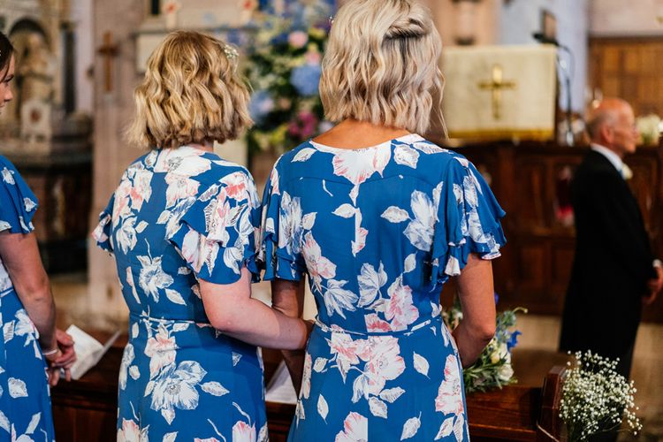 Bridesmaids in Blue Floral Dresses from French Connection