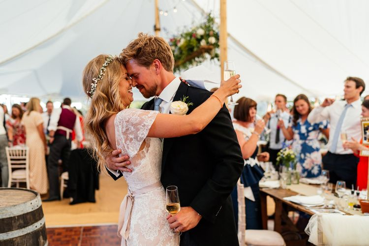 First Dance with Bride in Essense of Australia Wedding Dress and Flower Crown and Groom in Morning Suit