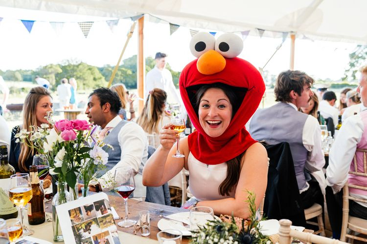 Wedding Guest in Elmo Hat