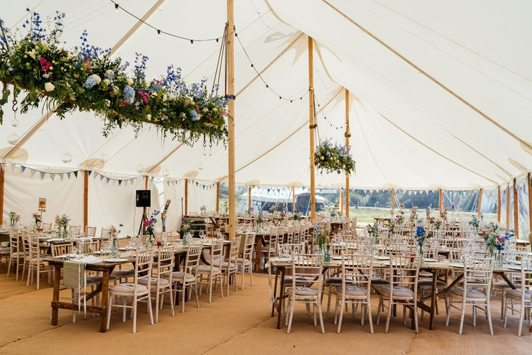 Marquee Wedding Reception with Wildflower Hanging Installation