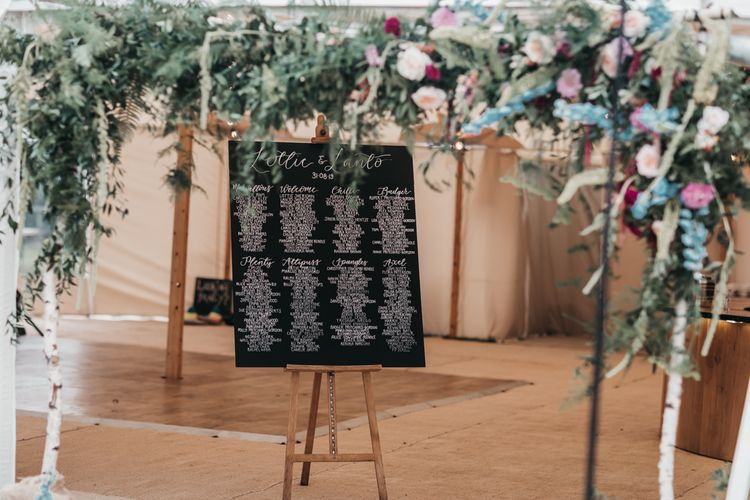 Chalkboard table plan at PapaKata Sperry tent reception and church wedding