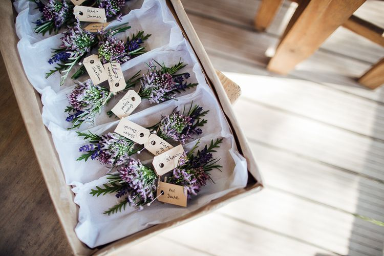 Buttonholes | DIY Rustic Wedding in a Sheep Shed | Suzanne Neville Bridal Gown | Donegal Tweed Suits | Bridesmaids inPurple  JLM Couture Special Occasions Dresses | Matt Willis Photography
