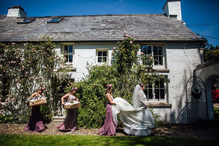 Wedding Party | DIY Rustic Wedding in a Sheep Shed | Suzanne Neville Bridal Gown | Donegal Tweed Suits | Bridesmaids inPurple  JLM Couture Special Occasions Dresses | Matt Willis Photography