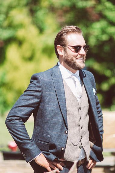 Grooms Check Suit from Moss Bros. with Wool Waistcoat