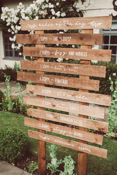 Rustic Wooden Order of the Day Wedding Sign