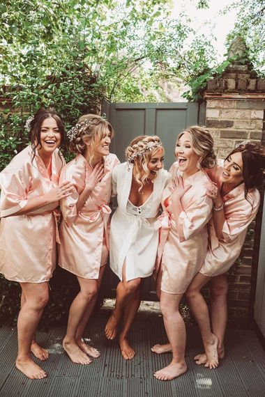 Bridal Party on Wedding Morning in Getting Ready Robes