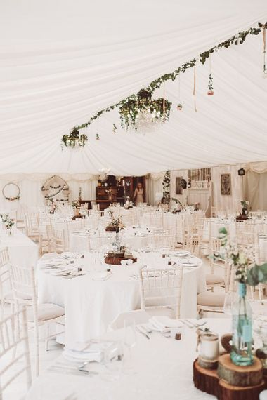 Marquee Reception with Rustic Decor
