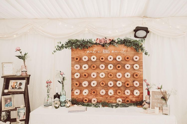 DIY Doughnut Wall with Typography Sign