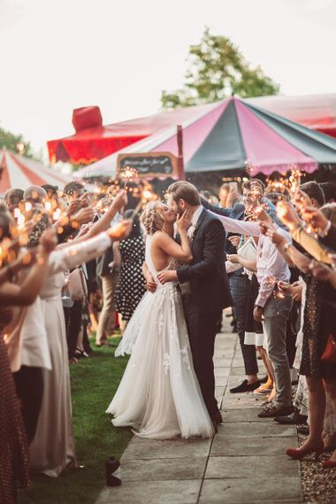 Funfair Wedding with Sparklers