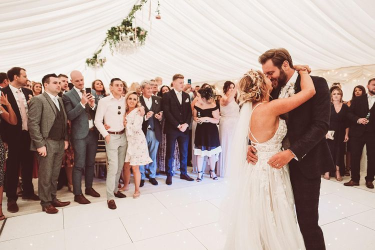 Bride and Groom First Dance in Marquee