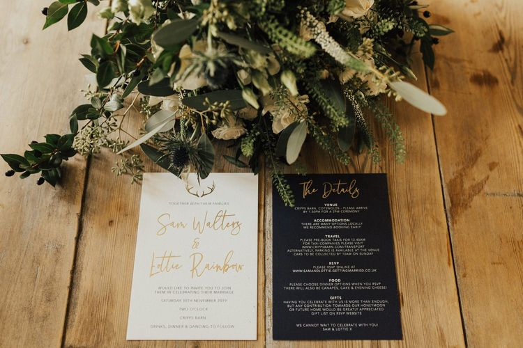 Black, white and gold stationery suite for November wedding