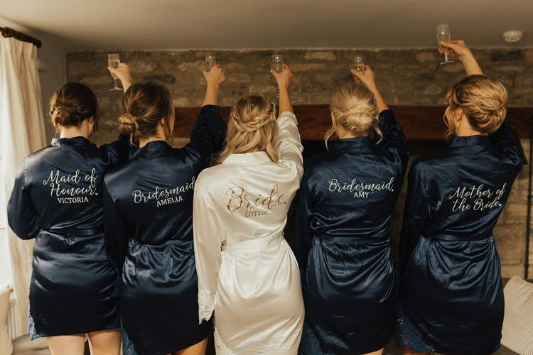 Bridal party personalised getting ready robes